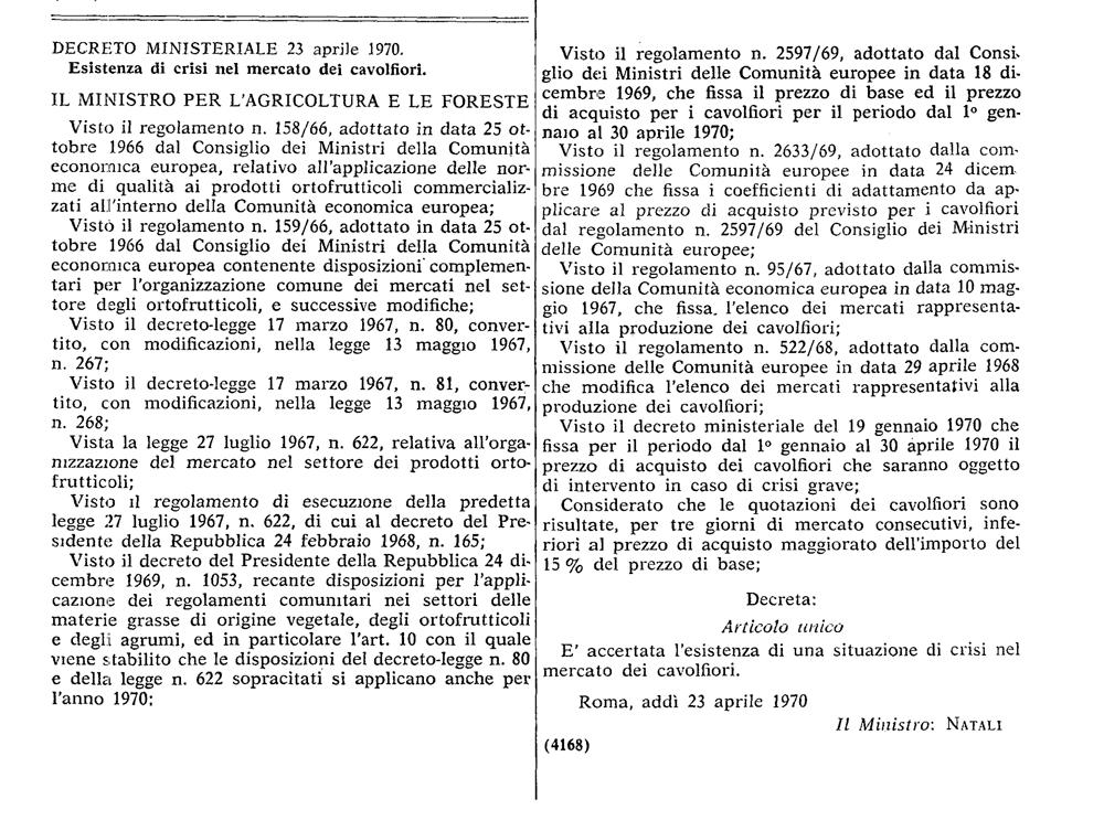 Sulla situazione del mercato dei cavolfiori nel 1970